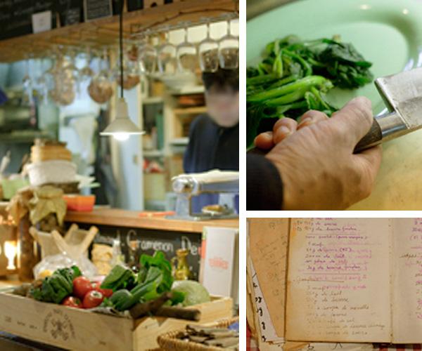"""写真左:熊本・清和村から届く、オーガニックの野菜たち。メリメロサラダは、茹でたり、マリネしたりと""""仕事""""した野菜が、20種ぐらい入る。 写真右上:パスカルさんと同じものが欲しくて買った包丁は、骨付き牛肉を切ったとき折れてしまったが、今も大事に。 写真右下:色あせたノートは、フランス修業時代に勉強したデザートのレシピが書かれたもの。ところどころ水や油でにじんでいる。"""