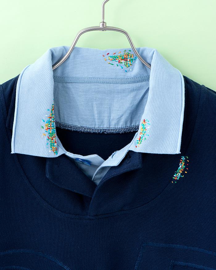 襟や身頃サイドに施された刺繍は、ちらっと見えたり、隠れたり……。表情が変わるところがかわいい!