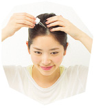 1. 週1~2回程度、洗髪前の乾いた頭皮全体に適量を塗布。