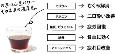 お茶は小豆パワー そのままの濃厚色。