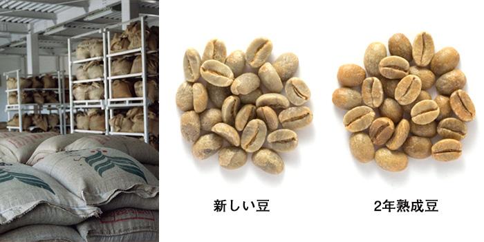 左/韮崎工場。標高500mの環境に作られた生豆熟成倉庫。右/新収穫豆(ニュークロップ)は、2年間寝かせると黄色みを帯びてくる。