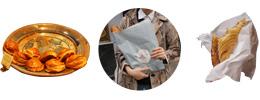 左:人気メニューは渦巻き形のデニッシュ。食べだしたら止まらない。 中:フランスパンを胸に抱えて小粋なパリジェンヌを気取ってみた。 右:パイの上にリンゴがたっぷり。あま〜〜いっ! (©井戸田潤)