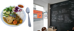 野菜がゴロンと入ったカレーが激ウマ。カフェの横にはギャラリーと本屋も併設。