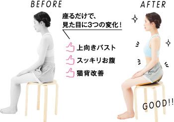座るだけで、見た目に3つの変化! 上向きバスト、猫背改善、スッキリお腹
