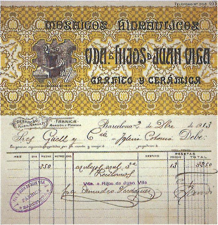 メダルデさんが発見したガウディのサイン入り請求書。