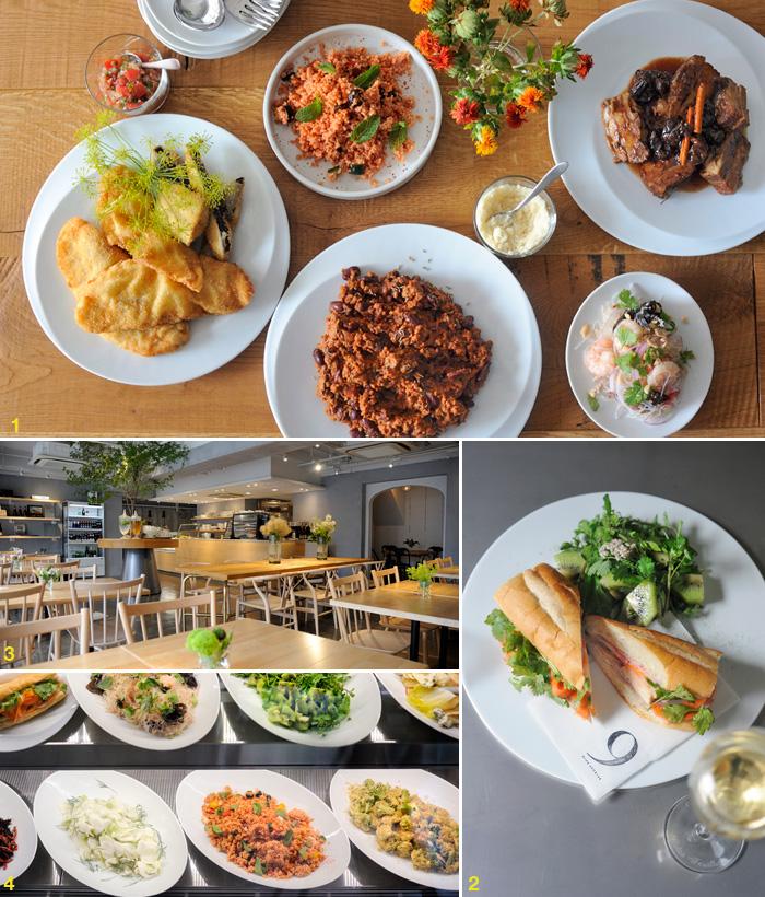 1: 右上から時計回り;〈八角風味の豚角煮 プルーン添え〉(主菜)、〈ヤムウンセン〉(副菜)、〈チリコンカン〉(主菜)、〈魚のフリット フェンネルの香り サルサソース添え〉(主菜)、〈タブレ(クスクスサラダ)〉(副菜)。主菜1種、副菜2種を選べるセットが ¥1,300(スープ、雑穀米付き、マテ茶付き)。2: レバーペーストを隠し味に使った〈バインミーサンドウイッチ〉¥600。グラスワインは白赤共に ¥600〜。3: 席数はトータル46席。4: 野菜たっぷりの副菜が多いのがうれしい。