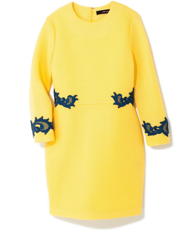 「fleamadonna」から、レディな一着がお目見え。 メッシュ素材のスポーティさを、フェミニンなラインとネイビーのレースで上品にまとめたワンピース。イエローが華やか。¥38,000(フリーマドンナ/CANNABIS LADIES Laforet HARAJUKU☎03・3404・3288)
