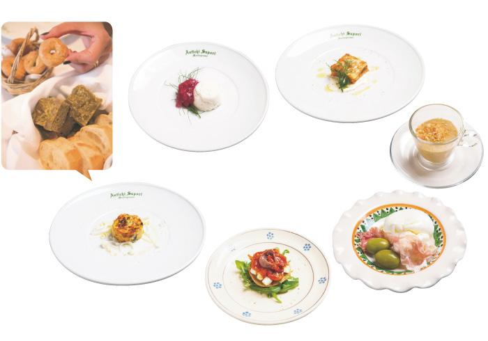 1. ANTIPAST:前菜 フォカッチャもふくめて、なんと前菜は7種類! プーリア産そら豆のピュレや、食感がクセになるブッラータチーズ、ズッキーニのスフォルマートなど、見た目にもおいしい料理ばかり。ペロリといけます。左拡大)プーリア風の焦がし小麦のフォカッチャは絶品。