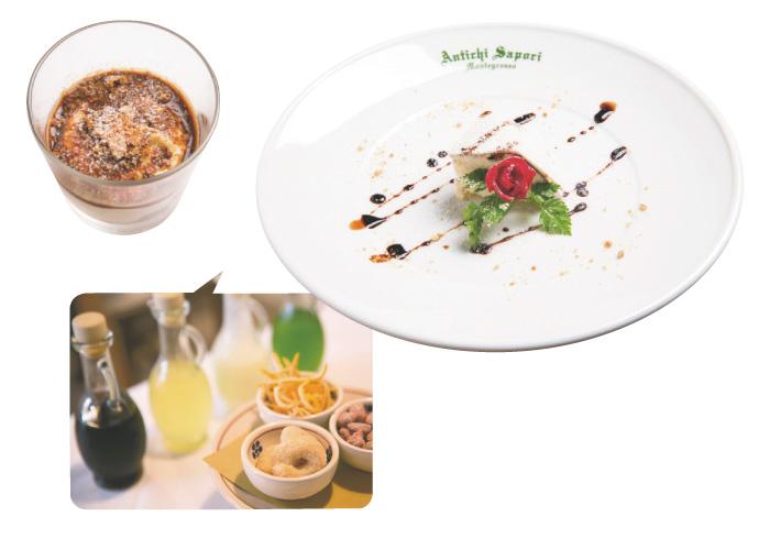 4. DOLCI:デザート プーリア直送のリコッタチーズのカッサータに、ティラミスとデザートは2種。4種の食後酒(ミント、リモンチェッロ、リモンチェッロ+生クリーム、アマーロ)も楽しめる。