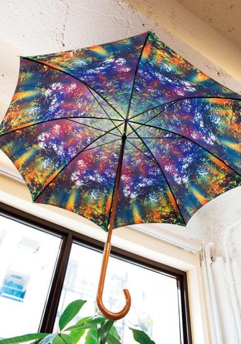 内側にパワースポット「分杭峠」で撮影された、虹のカーテンの写真がプリントされている傘。