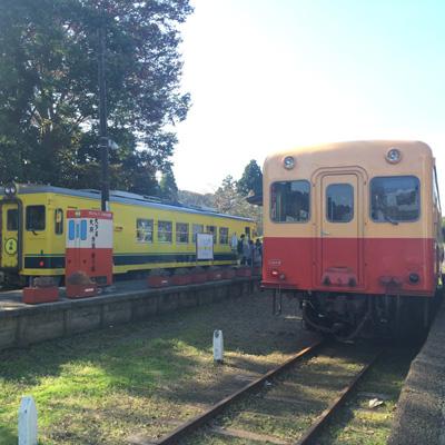 終点、上総中野駅にて。右が小湊鐵道の車両。渋い。左の黄色い列車は、また違うローカル線「いすみ鉄道」のもの。ムーミンが全面に。かわいい。