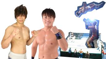 ともにDDTの看板選手で、左はプロレス界初、DDTと新日本プロレスの2団体に所属する飯伏幸太。右はチャンピオンのHARASHIMA。