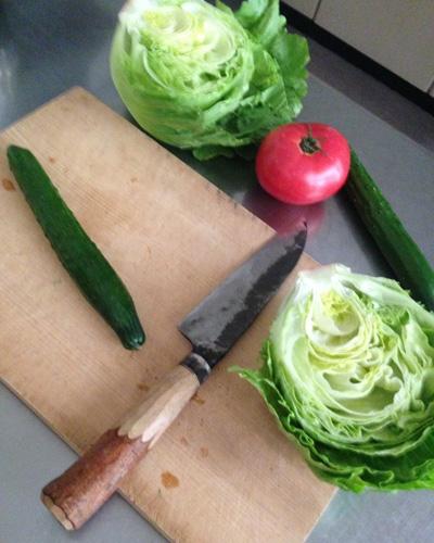 野菜サラダを作っている途中。ただ切るだけでも美味しいなんて、何て素晴らしいんでしょうか。