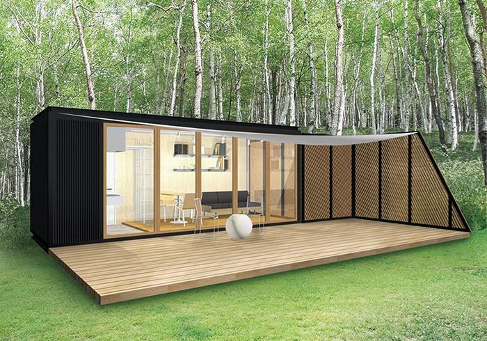 YADOKARIのスモールハウス第1弾は床面積約14m2(約4坪)に広いデッキ。本体価格250万円から。別途消費税、建築付帯費用などがかかる。第2弾は広めのサイズも検討中。詳しくは「未来住まい方会議」のHPで。http://yadokari.net/