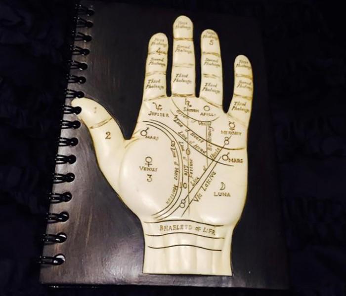 対談の際に、鏡さんが日笠さんにプレゼントされた、手相のノート。海外のお土産だそうですが、手のひらにさまざまな天体の名が刻まれています。