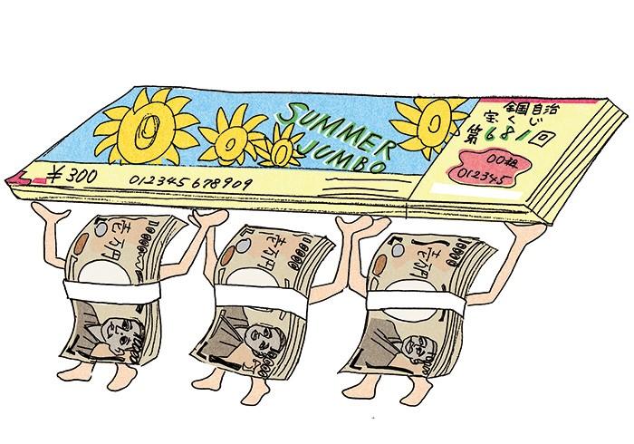 【億万長者のチャンスは年3回。】ジャンボ宝くじ付き定期預金は1口100万円から。例えば1口300万円の預け入れだと、利息に加えてドリームジャンボ宝くじ、サマージャンボ宝くじ、年末ジャンボ宝くじがそれぞれ10枚ずつ送られてくる。ドリームダイレクト支店をはじめスルガ銀行のインターネット支店4店舗で取り扱い中。
