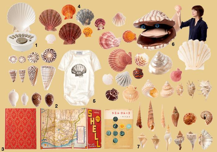1: 赤ちゃんの睡眠を促す音が出るホタテ形のサウンドメーカー。 2: 巻き貝コレクションの一部。3: ホタテ好きから派生してコレクトしたシェル石油の書籍や地図、そして会社にまつわる図鑑や写真集。4: ホタテコレクションの一部。拾ったもの、ディーラーから購入したもの、もらいものまでさまざま。5: 博物図のようなホタテがモチーフのベビー服。6: ホタテのパペット。7: グッゲンハイム美術館のデザインのモデルとなったとされるチマキボラ。
