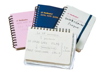 旅ごとに1冊使うノート。必要な会話は現地の言葉でメモしておき、ポケットに入れて身軽に街歩きを楽しむ。
