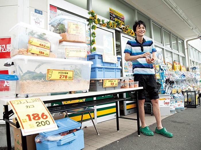 ドラッグストアの店頭でカブトムシを売る。店内への集客効果もある。