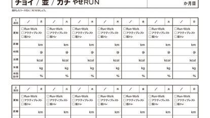 やせRUNプログラム Tarzanオリジナルチェックシート