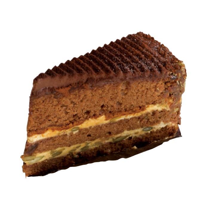 エーデッガートルテ500円。日本限定スウィーツ。粗く砕いたパンプキンシード入りのキャラメルクリームをチョコレート生地でサンド。