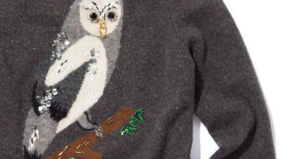 〈ギャラリー ミュベール〉はインパクト大の可憐なフクロウセーターで勝負!