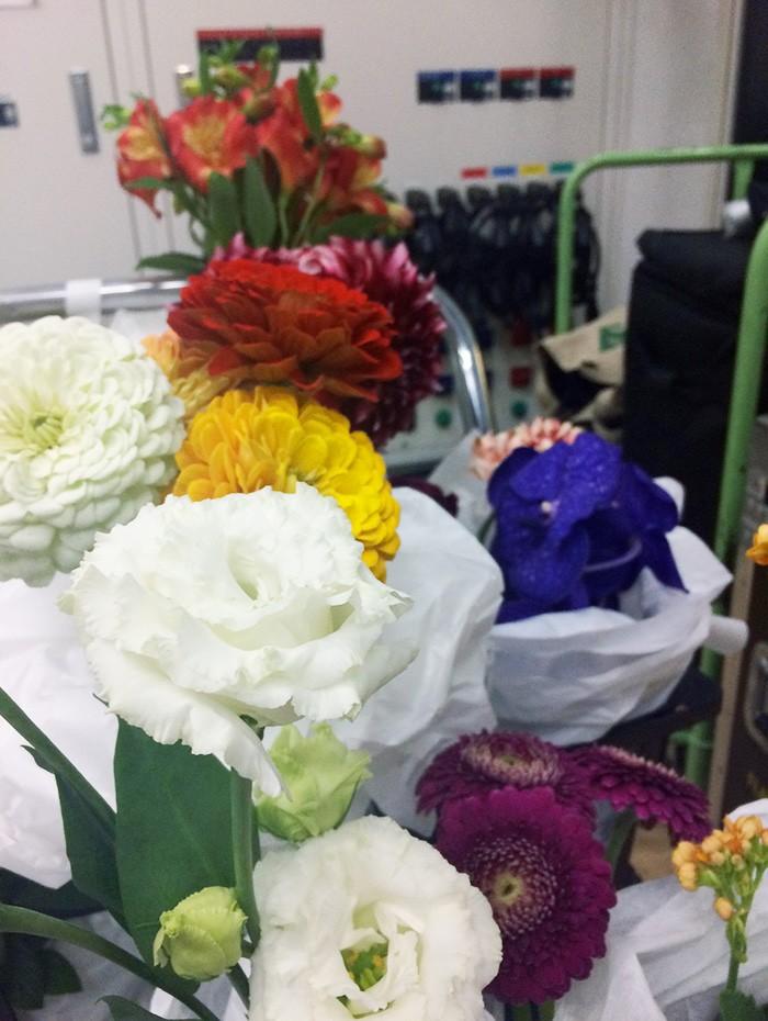 台車いっぱいに並んだお花たち。誰がどれを選んだのかは、本誌でご確認を!