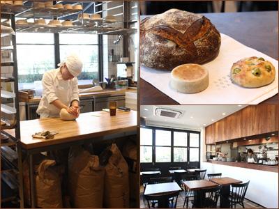 左写真: 奥の厨房でスタッフが作業中。右上写真: ホールの〈カンパーニュ〉(¥1,300)は、水分量が多いので、3日ぐらいおいしく食べられる。今、人気の湘南小麦を使った〈イングリッシュマフィン〉(¥180)は、モチモチの食感。〈オリーブフォカッチャ〉(¥320)は、香川の絶品オリーブたっぷり。右下写真: 大きな窓から光が入るカフェも気持ちいい。