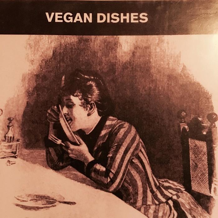 ベルリンのレストラン〈ゴルキパーク〉のメニューより。ビーガン用の料理が掲載されたページの挿絵だが、お皿を舐め回す誠に行儀の悪い女子のイラストをなぜ選んだかは意味不明。その垢抜けさがドイツ。