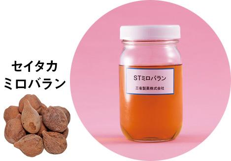 セイタカミロバランから抽出したSTミロバラン。コラーゲンとヒアルロン酸の分解を阻止し、シワを防ぐ。