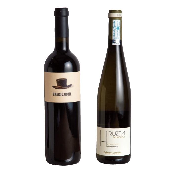 右はバスク地方のイルスタ・チャコリ。左はリオハの赤ワイン、プレディカドール。ワインはスペインのものを中心に5000円台が充実している。