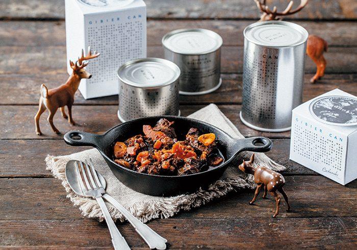 スーホルム ジビエ缶 全6種(島根県産猪肉のカルボナート、クスクス、ポトフ/北海道産鹿肉のパルマンティエ、ポワブラート、フリカデラ)¥1,200~1,800