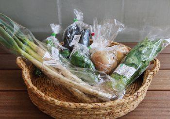 マルシェは新鮮な野菜が並ぶ。