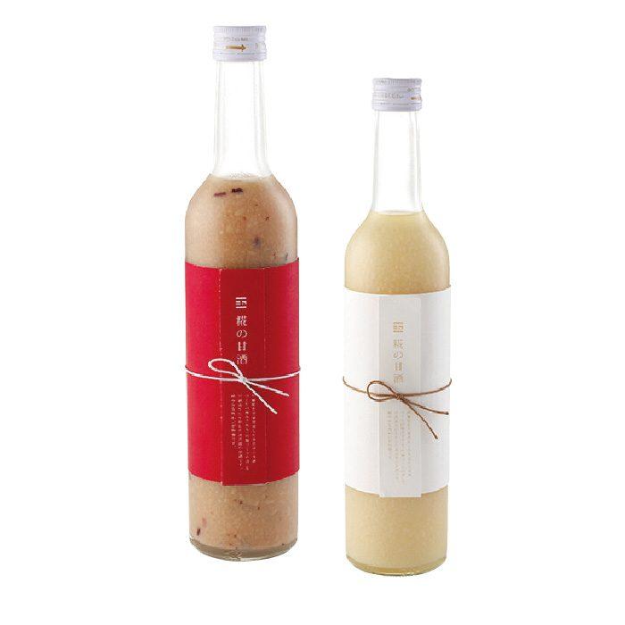 糀の甘酒、古代米(左)と吟醸糀各972円。美容と栄養補給におすすめ。冷やしてからどうぞ。(各税込)