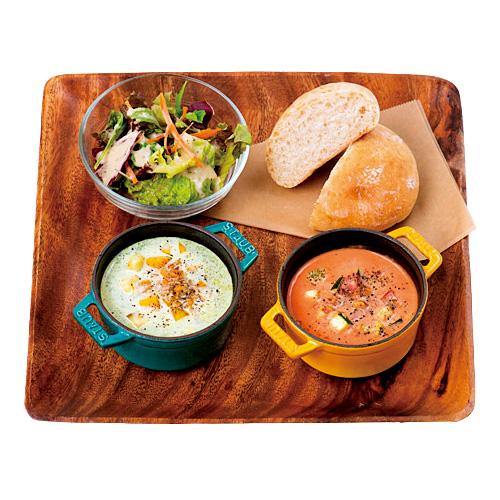 COCACONOセット1280円(税込)。ポタージュは6種から2種を、トッピングの野菜セットは4種から、主食はパン、白米、十六穀米から選ぶ。ランチにはサラダが付く。