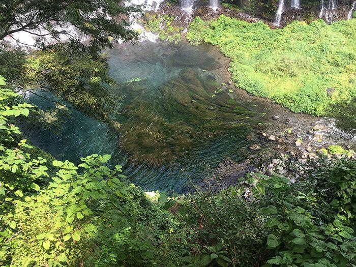 周りを散歩していたら、滝壺を見下ろせるスポットを発見(写真左側に滝があります)。水の流れを見つめていると、時が経つのを忘れて無の境地に…。