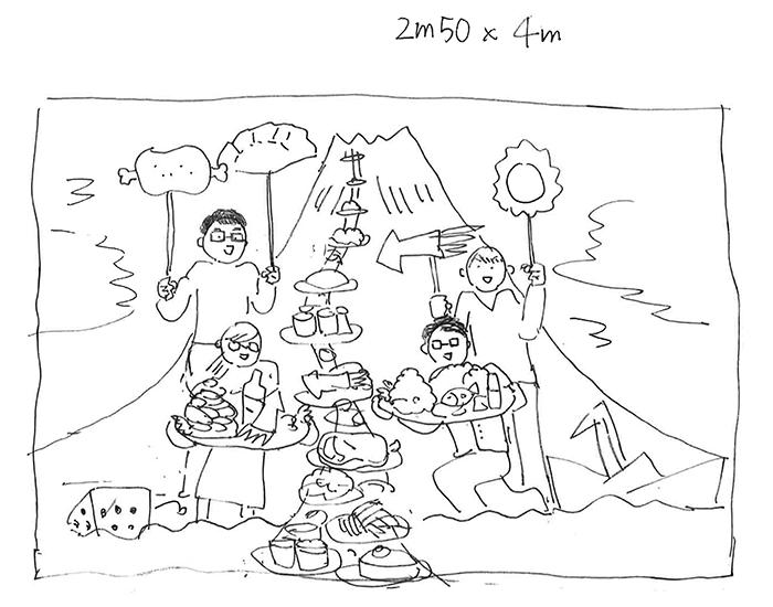 扉ページのラフ。お取り寄せの品が列をなして富士山の登山道を登っていく、というイメージでした。