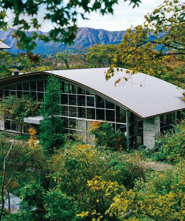 箱根の森林に囲まれたガラス張りのレストラン棟。
