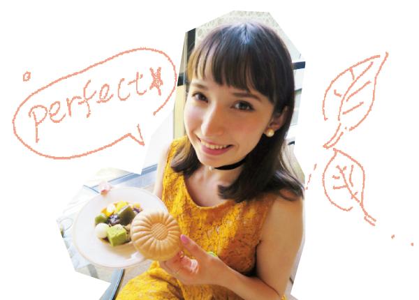 「ミニ和菓子バー」では最中の皮や栗、白玉などを自由にトッピング。アリスさんのお気に入りは抹茶葛餅。