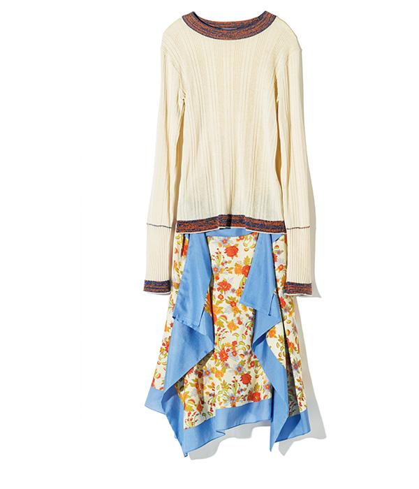 BEAUTIFUL PEOPLE knit & scarf motif skirt