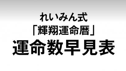 anan 2058号仕事運&金運は運勢の鍵'17年後半・れいみん式「輝翔運命暦」早見表