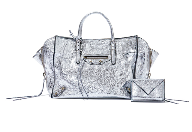 BALENCIAGA metallic bag & wallet
