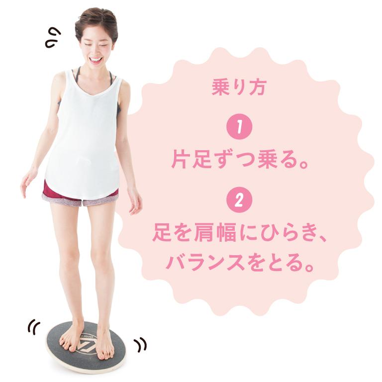 乗り方:1 片足ずつ乗る。 2 足を肩幅にひらき、バランスをとる。