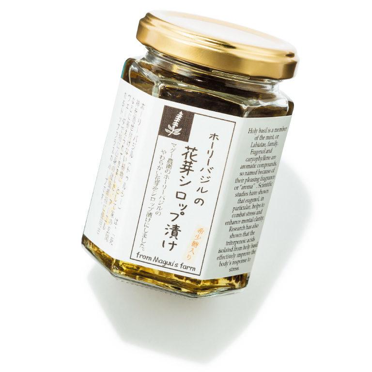 ホーリーバジルの花芽シロップ漬け 希少糖入り ¥900(150g) マギー☎03・5777・5311 https://www.magi-shop.com