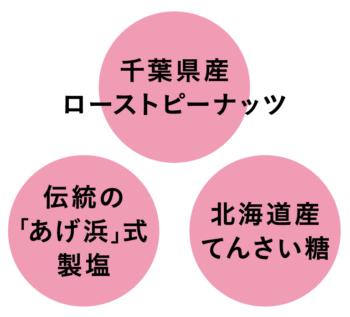 千葉県産ローストピーナッツ、伝統の「あげ浜」式製塩、北海道てんさい糖