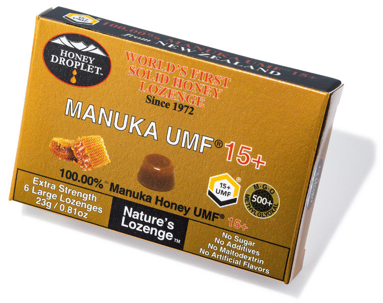 ハニードロップレット マヌカハニーUMF® 15+ ¥1,500(6粒) ハニージャパン☎03・6759・3363 http://honeyjapan.shop