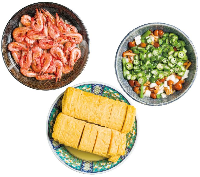 上から左回りに、海老煮付、だし巻卵、季節のおひたし。