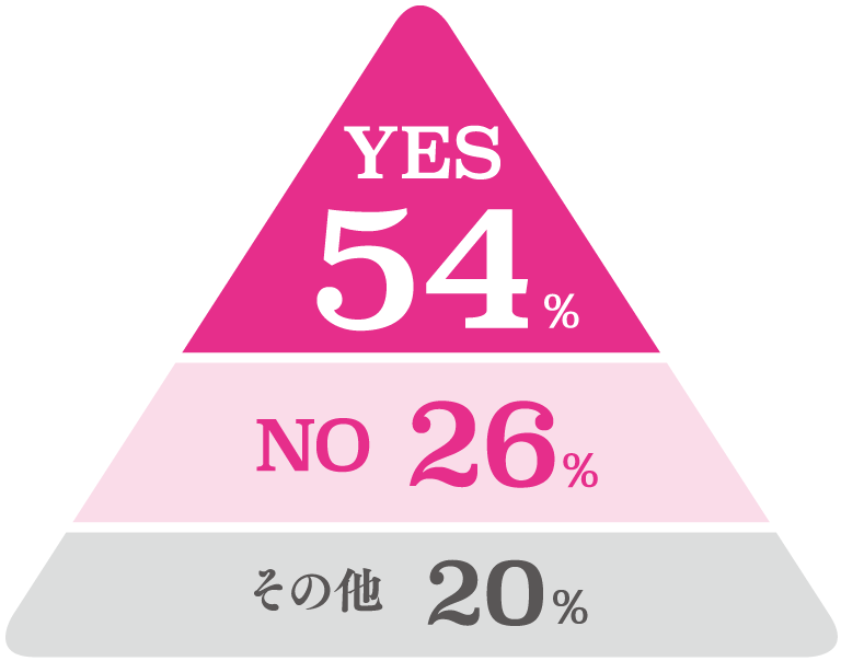 YES 54%、NO 26%、 その他 20%