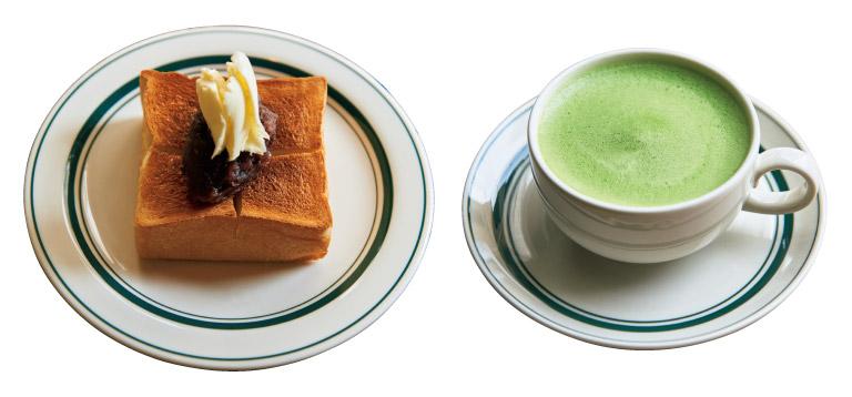 抹茶Straightのホット468円。あんバタートースト455円。