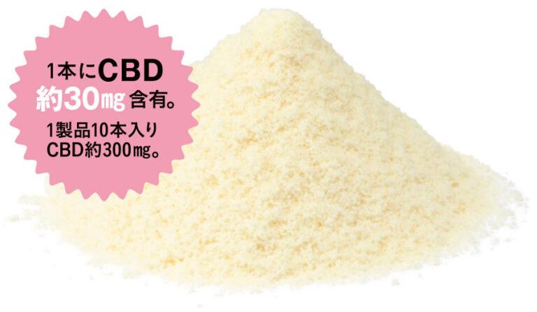エリクシノール CBD ナノパウダー 1本にCBD約30mg含有。1製品10本入りCBD約300mg。